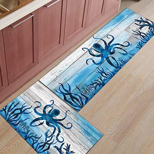 Set of 2 Non-Slip Kitchen Mat Anti Fatigue 2 Piece Ocean Decor Comfort Standing Kitchen Mat Waterproof and Oil Proof Beach Octopus Fish Animals Wood