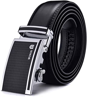 Munixi Mens Black Belt Cowskin Leather Automatic Buckle Men Belts Popular Male Belts (Adjustable from 20 to 42 Waist)