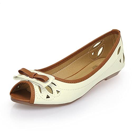 c7b73b49f31 Alexis Leroy Women s Simple Style Peep Toe Ballet Flats Shoes Black