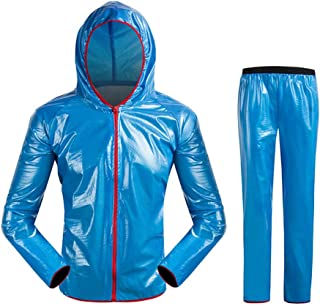 NYDZDM Waterproof Raincoat and Trousers Raincoat Hooded Poncho Suit Motorcycle Rain Pants Suit Work Outdoor Activities Protective Equipment (Color : Blue, Size : XXL)