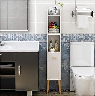 KOKOF Meuble de rangement de salle de bain avec rangement latéral de toilette étroit armoire de toilette d'angle armoire a...