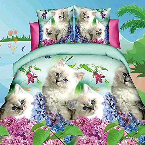WEDSGTV Inky Floral Grey Duvet Cover And Pillowcases Bedding Set 3d Effect Bedding Complete Set 1 Duvet Cover 2 Pillow Cases,H-King240×220cm
