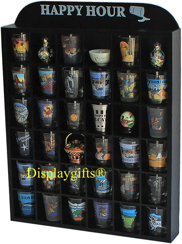 DisplayGifts Happy Hour 4 years warranty Imprinted Top Houston Mall Shot Sh Display Glass Case