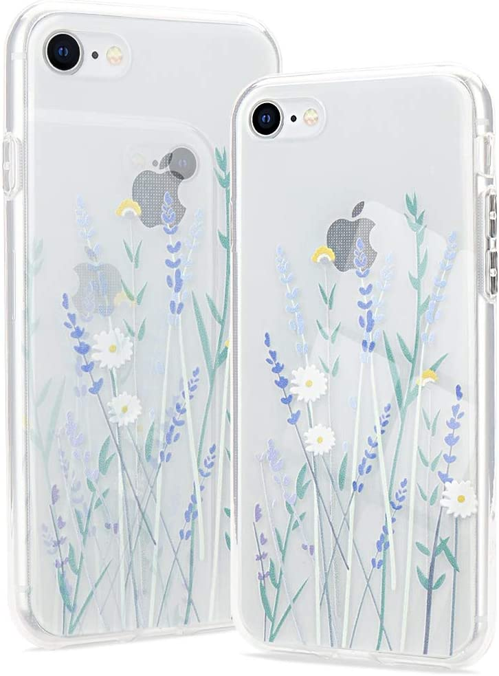 Clear Phone Case Compatible with iPhone 12//12 Pro Soft Silicone Shockproof Transparent TPU Protective Daisy Floral Lavenders Patterns Design Case Girls/&Women Cute Cover for iPhone 12//12 Pro