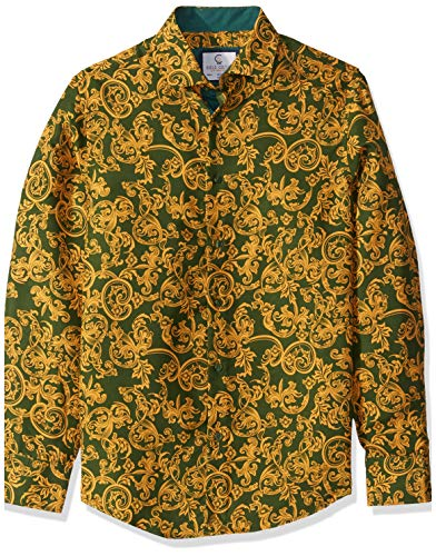 Azaro Uomo Unisex-Adult's Slim Fit Long Sleeve Fashion Floral Shirt Button Up Dress, Hipster Green, X-Large