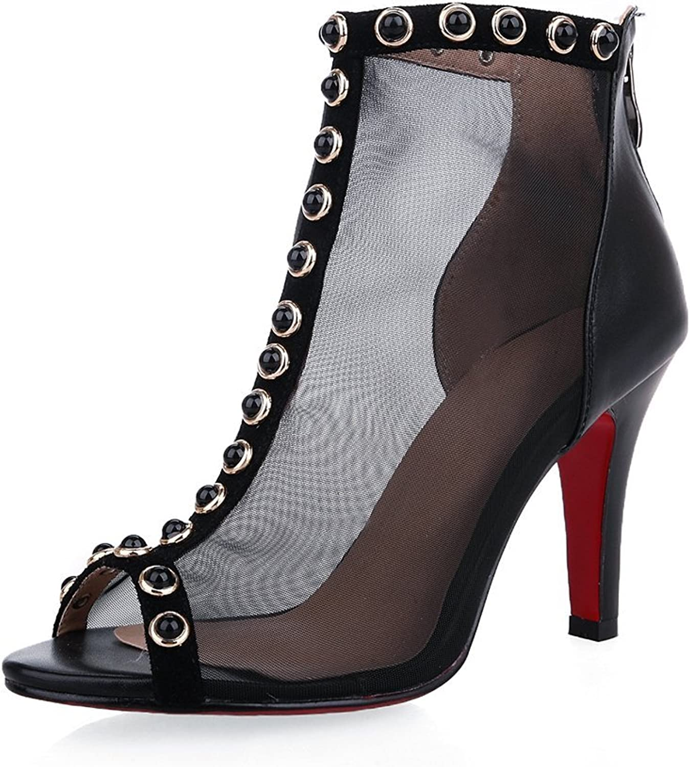 Nine Seven Genuine Leather Women's Stiletto Studded Ankle Mesh Bootie