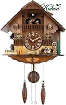 German Cuckoo Clock, Quartz Cuckoo Clock Black Forest House with Moving Bird, Dancers, Watermill, Wooden Handcrafted Wall ...