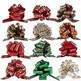 Naler 12 Styles Organza Pull Bow Craft Ruban Assorties PVC Pullbow Fleuriste Pew pour la décoration de Noël Cadeau d'anniversaire Emballage Accessoires