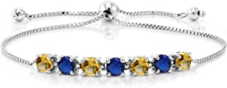 Gem Stone King 925 Sterling Silver Yellow Citrine and Blue Simulated Sapphire Women's Adjustable Tennis Bracelet (2.33 Cttw)