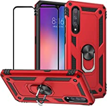 BestShare for Xiaomi Mi 9 / Xiaomi 9 Case & Tempered Glass Screen Protector, Rugged Hybrid Armor Anti-Scratch Shockproof Kickstand Cover & Magnetic Car Mount Ring Grip, Red