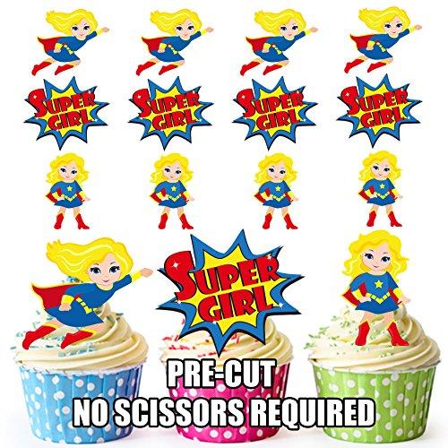 AK Giftshop PRE-CUT Supergirl Superhero - Eetbare Cupcake Toppers/Cake Decoraties (Pak van 36)