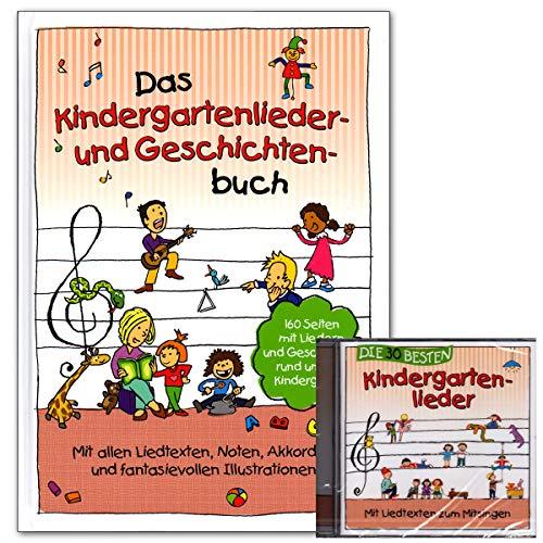 El libro de canciones de guarderías y historias con CD – 160 páginas con canciones y historias alrededor de la guardería. Con todos los textos de canciones, notas, acordes y historias ilustradas.
