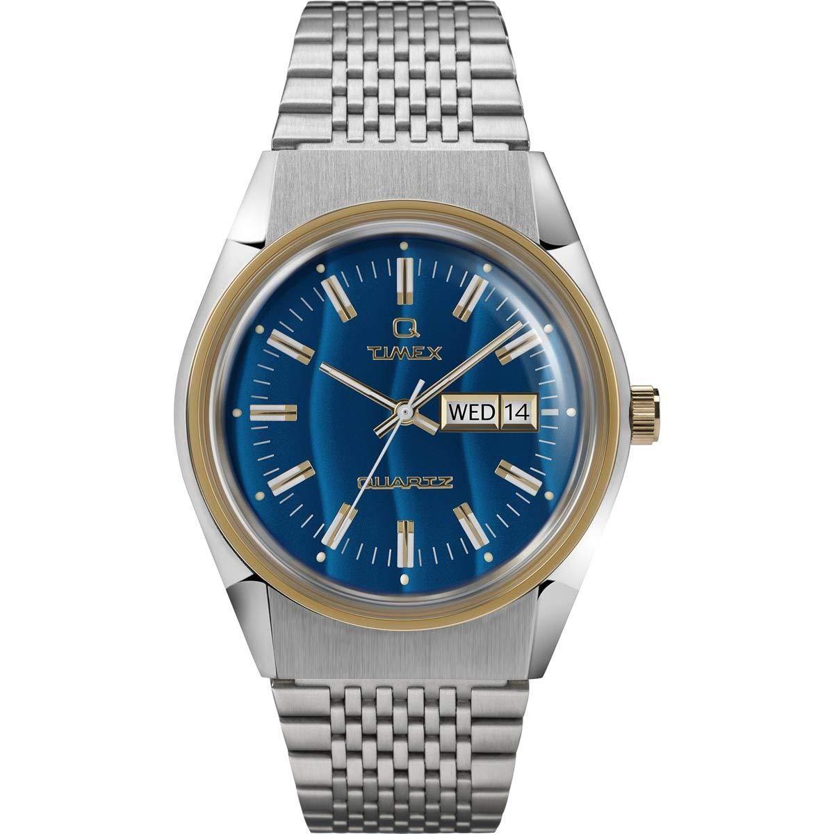 Timex Q Reissue Falcon Eye Analog Blue Dial Men's Watch TW2T80800 Wrist Watches