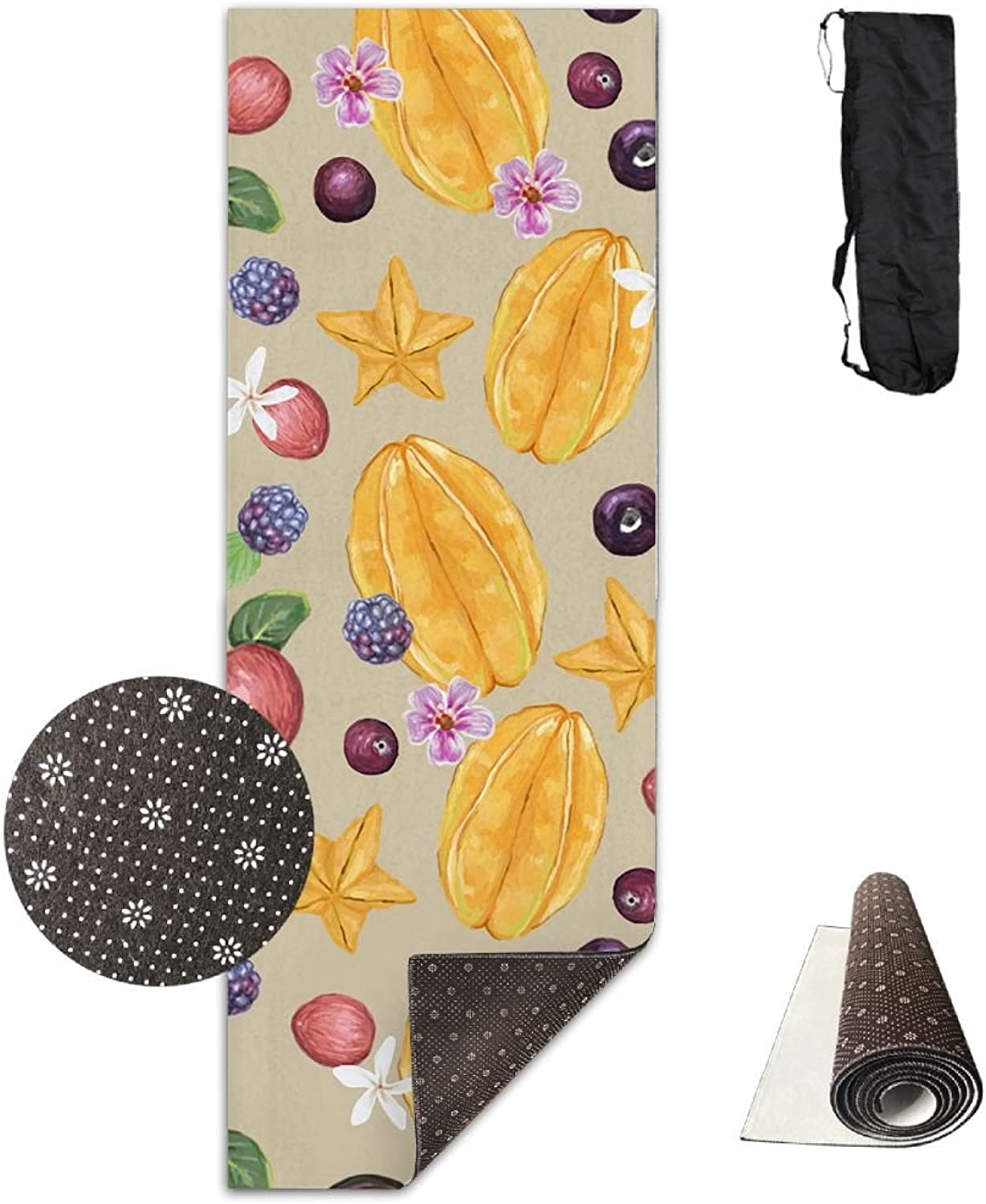 Gym Mat Tropical Fruits Fitness High Density AntiTear Exercise Yoga Mat With Carrying Bag For Exercise,Pilates