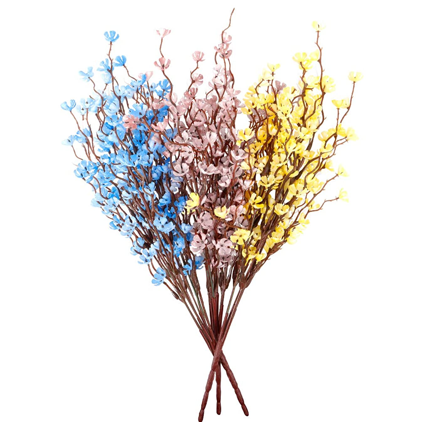 Artificial Flower (Pack of 3colour),Purifiable Air Photocatalyst Material Never Fade.Artificial Greenery Foliage Plants Stems for Wedding, Garden Outside Hanging—New Version