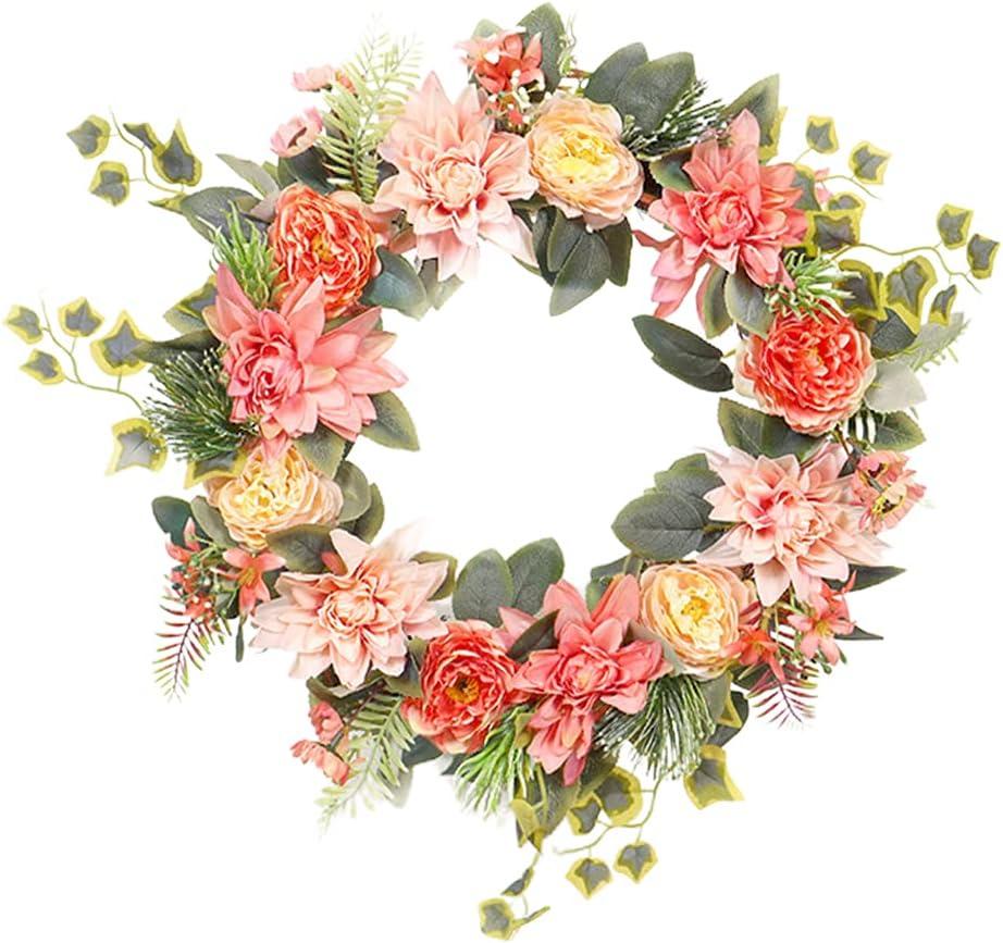 Ranking TOP15 18'' Flower Wreath Handmade Popular overseas Artificial Por Garland Floral Spring