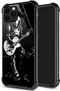 iPhone 11 Case,9H Tempered Glass iPhone 11 Cases Skeleton Astronaut Playing Guitar for Men Boys, Pattern Design Shockproof...