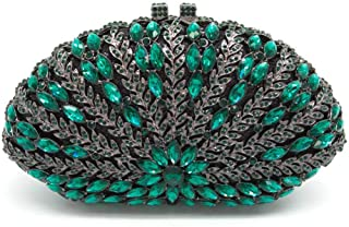Your only brother Luxury Leaf Hollow Metal Double-Sided Crystal Rhinestone Banquet Clutch Bag Ladies Wedding Dress Evening Bag Chain Lady Shoulder Bag Size: 19.5 * 6 * 11.5cm (Color : Green)