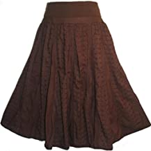 Agan Traders 21238 SK Women's Elastic Waistband Cotton Tiered Lined Long Skirt Maxi