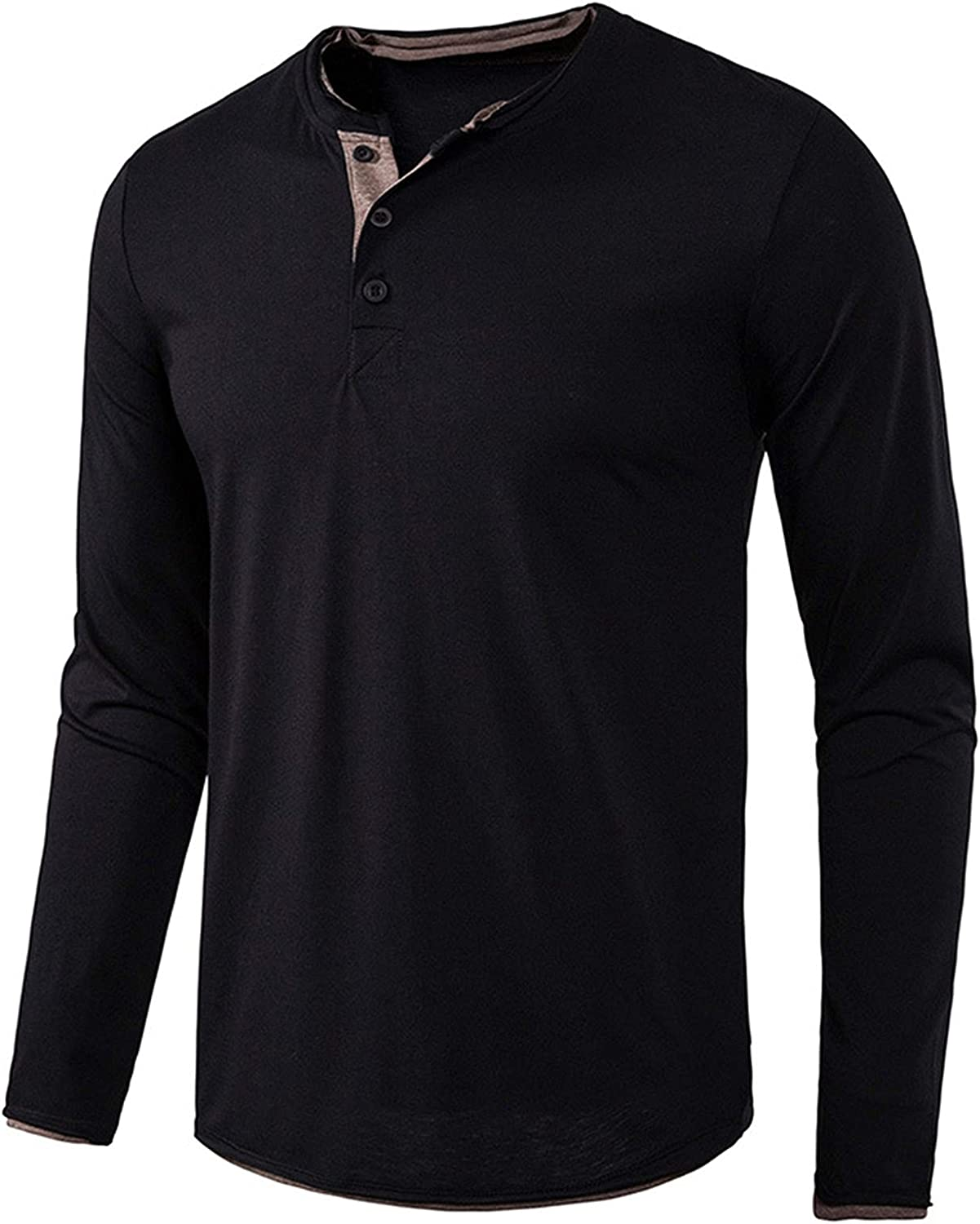 LIOMENGZI Men's Fashion Casual Front Placket Long Sleeve Henley T-Shirts Cotton Shirts Round Collar Pullover