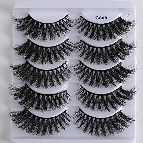SKONHED 5 Pairs Woman's Fashion Reusable Handmade Cross Long False Eyelashes Wispy Lashes Extension Tools 3D Mink Hair(G808)