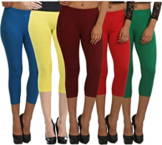 Fablab Girls Cotton Lycra Capri Leggings Capri_CLS_190-5-12BlYMRG,Free Size,BlueYellowMaroonRedGreen.