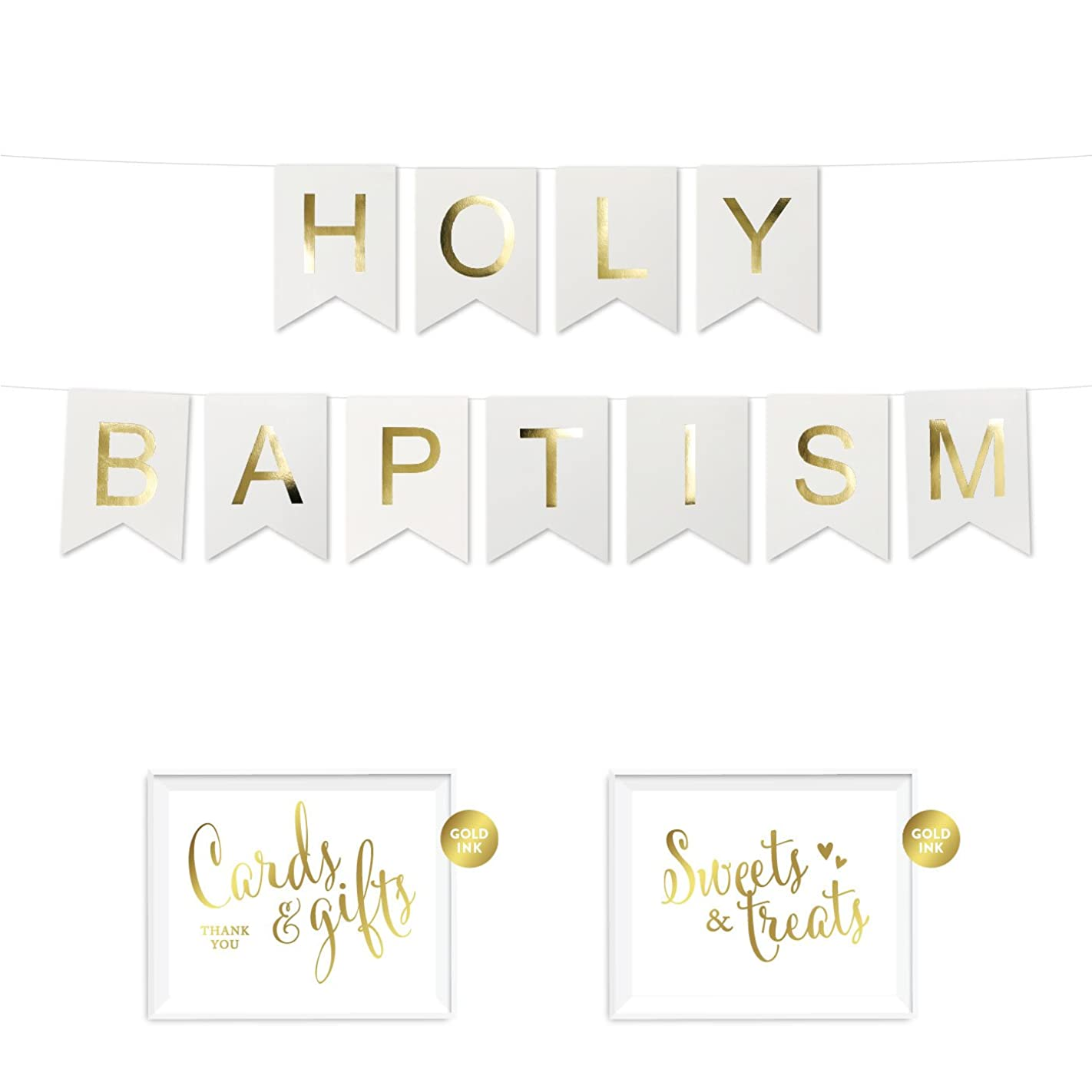 Andaz Press Shiny Gold Foil Paper Pennant Hanging Banner with Gold Party Signs, Holy Baptism, White, Pre-Strung, No Assembly Required, 1-Set g30685666135