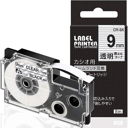 1個 9mm 透明地黒文字 互換 カシオ ラベルライター ネームランド テープ XR-9X XR 9X CASIO NAME LAND テープカートリッジ ASprinte
