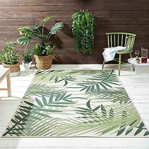 VIMODA In- und Outdoor Flachgewebe Terrassen & Balkon Küche Teppich Palmen Design Grün, Maße:160x220 cm