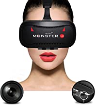 Irusu Monster VR Headset with 42MM HD Lenses and Advanced Touch Button for All Mobile Phones(Black)