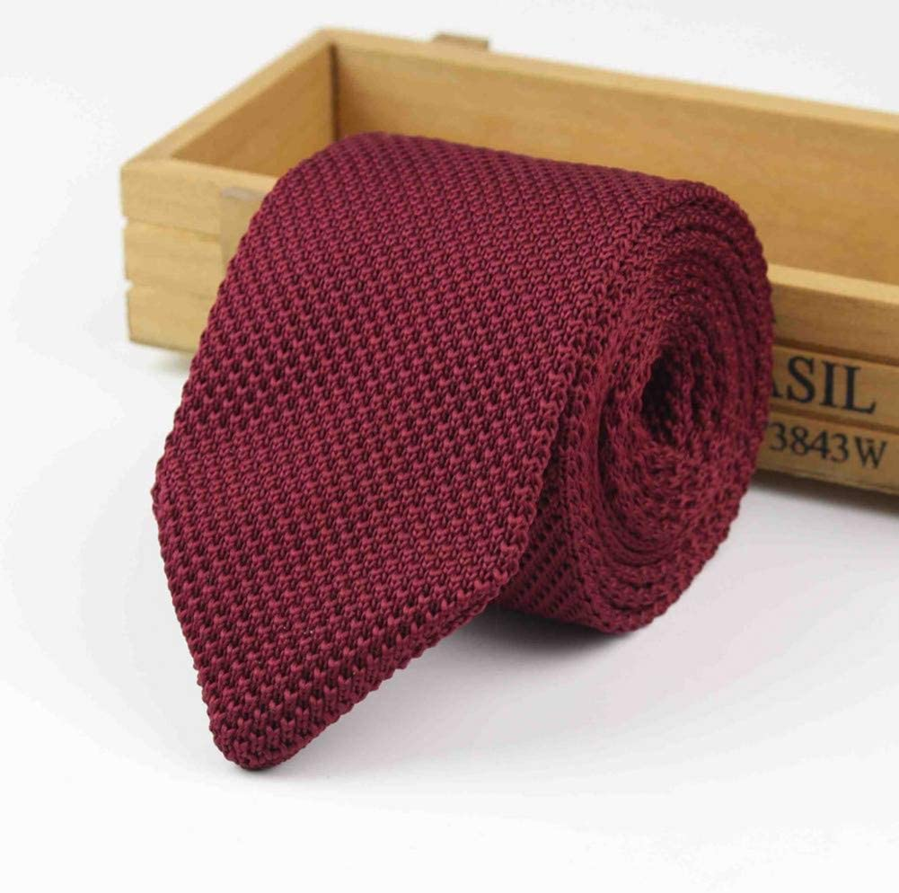 WOXHY New Knitted Knit Leisure Triangle Solid Color Ties Normal Sharp Corner Neck Ties Men Classic Woven Designer Cravat