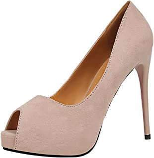 Sam Carle Women Pumps, Sexy Solid Color Suede High Heel Shallow Mouth Peep Toe Shoes