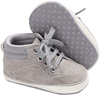 Hopscotch Boys Cotton+PU Solid Lace High Booties in Gray Color