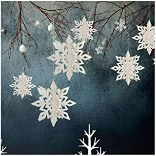 ESG Warehouse 6 Pcs Christmas Snowflake White Party Decorations 3D White Hanging Garland Hanging
