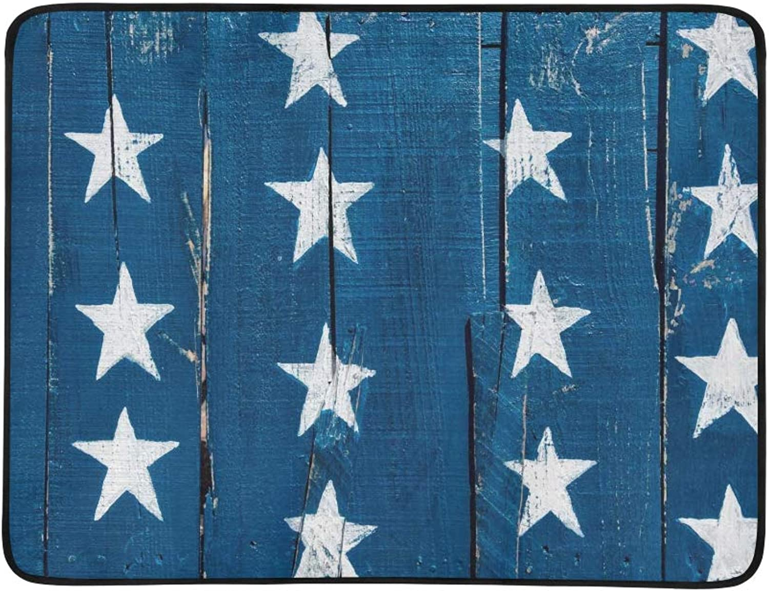 White Stars On blueee Painted On Planks of Rustic Re Pattern Portable and Foldable Blanket Mat 60x78 Inch Handy Mat for Camping Picnic Beach Indoor Outdoor Travel