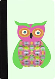 Rikki Knight Green Owl Patchwork Faux Suede Notebook Binder Portfolio (Ruled Notebook included)