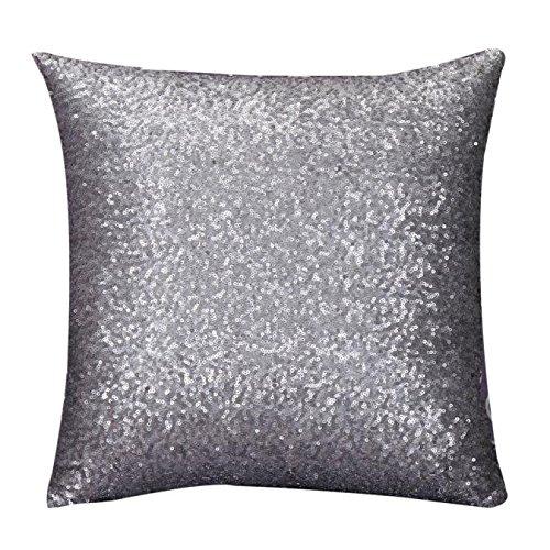 Transwen - Cojín de lentejuelas, 45 cm x 45 cm, para sofá, decoración del hogar, gris, 45 x 45 cm