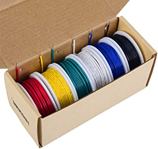 TUOFENG 18 awg Solid Wire-Solid Wire Kit-6 different colored 20 Feet spools 18 gauge Jumper wire- Hook up Wire Kit