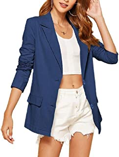 neveraway Womens OL 2 Button Pure Color Long-Sleeve Skinny Blazer Jacket Coat