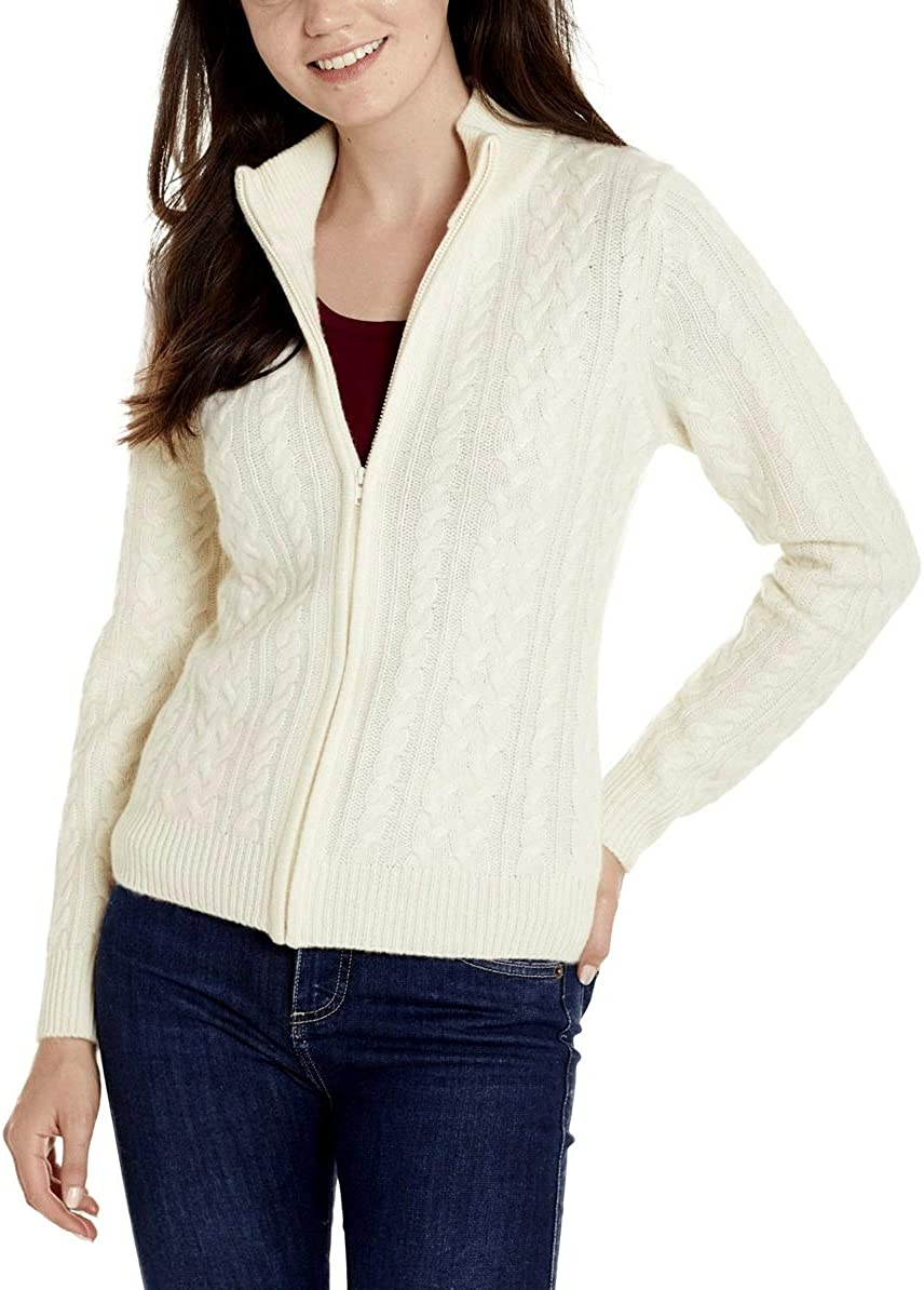 Invisible World Women's 100% Cashmere Sweater Cable Knit Cardigan Katy
