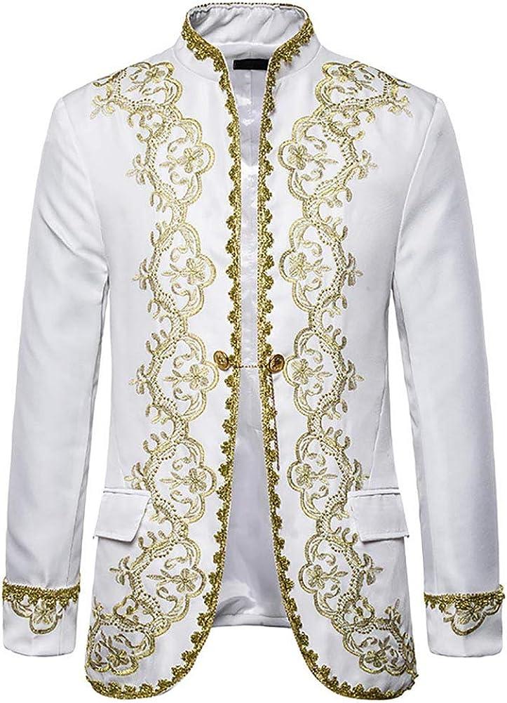 Men's Medieval Victorian Jacket Stand Collar Steampunk Long Sleeve Renaissance Retro Coat Viking Costume