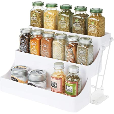 mDesign rangement à épices à 3 étages pour le placard de la cuisine – organiseur de cuisine pratique en plastique sans BPA à abaisser – étagère à épices compacte – blanc