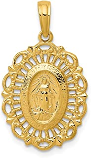 14k Yellow Gold Oval Miraculous Medal Pendant Charm Necklace Religious Fine Jewelry For Women