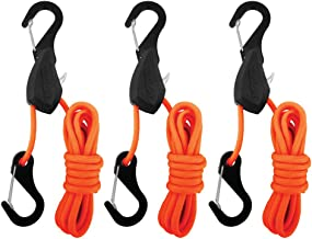 PROGRIP 056370 Better Than Bungee Rope Lock Tie Down with Snap Hooks: 6' Orange Paracord (Pack of 3)