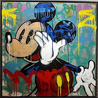 Handmade ALEC Graffiti Mickey Mouse Paintings Pop Art Canvas Wall Art Street Art Urban Art On Canvas Wall Pictures for Living Room Bedroom Stretched and Framed 32