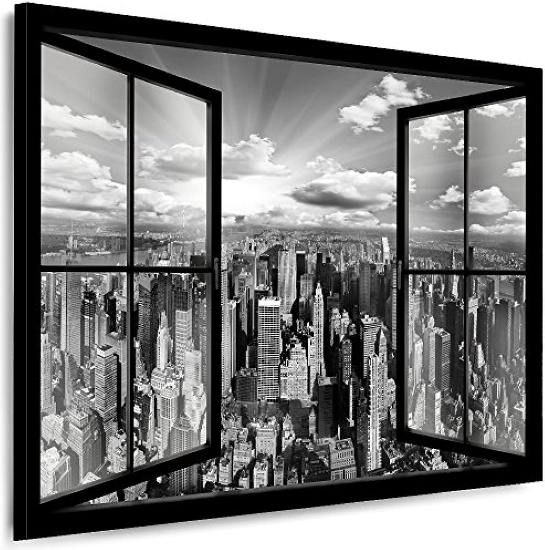 Julia-Art Leinwandbilder Skyline - New York Bilder - XXL Wandbild mit Keilrahmen - 150 mal 100 cm - Querformat 1 teilig - Schwarz Wei Kunstdrucke Stadt NY City Statue, Brücke Fensterblick N-c-100-a-7