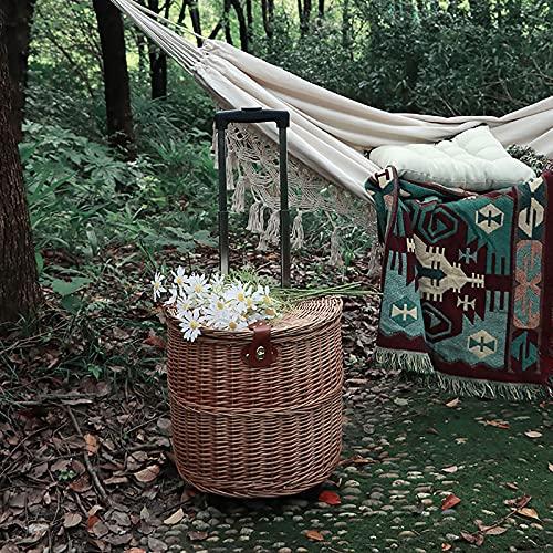 YAROK Trolley Basket Shopping Picknickkorb Mittagessen Körbe/Holzhalter, Hochleistungs-Familienausflug Picknickkorb, Willow, Natural, 16x11x17 In, 37L
