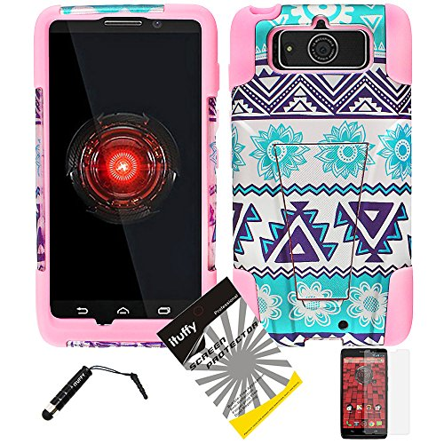 Snaponcase 2 Tone Dual Layer KickStand Armor Hybrid Cover for Motorola Droid Ultra XT1080, Maxx XT1080M Bundle with Screen Protector and Stylus - Aztec Flower/Light Pink