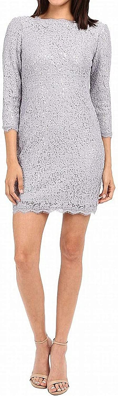 Adrianna Papell Women's Lace Sequin Shift Dress Light Dove Dress 6