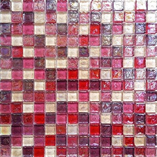 Complement 10cm x 10cm Muster. Glas Mosaik Fliesen Muster in Bonbon Farben mit Wirbel Glass Optik (MT0027 Muster)